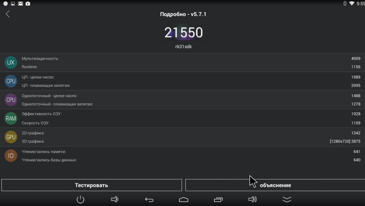 Показатели AnTuTu benchmark mini pc CX919