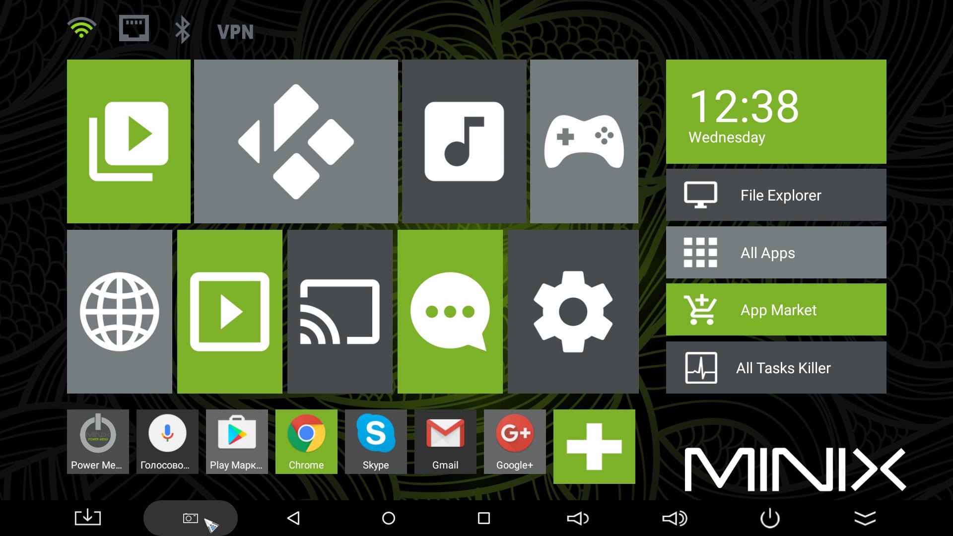 Интерфейс Android-медиаплеера MINIX NEO U1